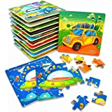 Vileafy Kindergarten Kids Puzzles - Party Favors for Kids Ages 3-5 Years Old, Wooden Preschool Puzzles for Boys and Girls, 12