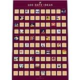 "100 Dates Scratch Off Poster - Couple's Bucket List - Valentine's Day Idea (16.5"" x 23.4"")"