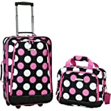 Rockland 2 Pc Luggage Set, Mulpink Dots (Pink) - F102-NAVY