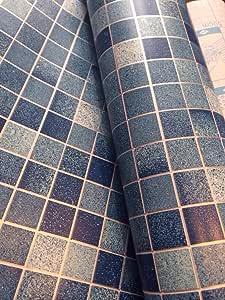 超簡単DIY壁紙シール モザイクタイル柄ブルー