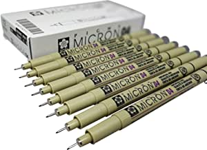 (04, 8 pct set, black) - Sakura Micron Pigma Ink drawing pens for manga drawing, scrapbooking supplies - 8 artist pens - 8 pack (04, 8 pct set, black)