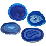 """AMOYSTONE Blue Agate Coaster Cup Mat Dyed Sliced Agate Beverage Coasters Small for Drinks Gift Set of 4 Plates Blue 3-3.5"""""""