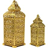 Vela Lanterns Temple Moroccan Style Candle Lanterns, Gold, Set of 2
