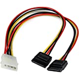 StarTech.com 12-Inch LP4 to 2X SATA Power Y Cable Adapter
