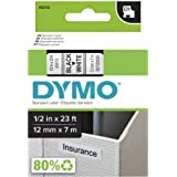 DYMO Standard D1 Labeling Tape for LabelManager Label Makers, Black Print on White Tape, 1/2'' W x 23' L, 1 Cartridge (45013)