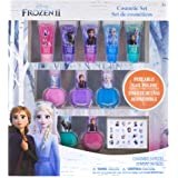 Townley Girl Disney Frozen 2 Super Sparkly Cosmetic Set with Lip Gloss, Nail Polish and Nail Stickers - 11 Pcs