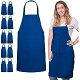 GREEN LIFESTYLE 12 Pack Bib Apron - Unisex Black Apron Bulk Machine Washable for Kitchen Crafting BBQ Drawing Outdoors (Royal