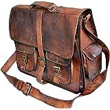 TUZECH Rustic Big Pocket Pure Leather Bag Office Design Perfect Vintage Adjustable Professionals Satchel Bag - Fits Laptop Br