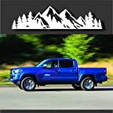 """Byzee Vinyl Mountain Decal, Black Tree Sticker for car/Truck Tail gate/Trunk Badge Emblem (9"""" White)"""