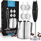 Zulay High Powered Milk Frother COMPLETE SET - Handheld Foam Maker for Lattes - Great Whisk Drink Mixer for Bulletproof® Coff