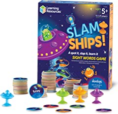 Learning Resources LER8596 Slamships Sight Word Game (110 Piece),Multi