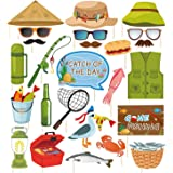 Kristin Paradise 25Pcs Gone Fishing Photo Booth Props with Stick, O-Fish-Ally Selfie Props, Little Fisherman Party Supplies,
