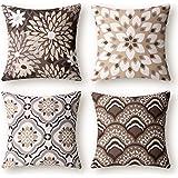 Phantoscope Set of 4 New Living Series Dahlia and Oriental Print Decorative Throw Pillow Case Cushion Cover, Coffee, 18 x 18