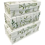 Set of 3 Nesting Hinged Lid Storage Boxes from Votum – Spiritual Decorative Stackable Paperboard Containers with Magnetic Tab