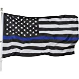 Homissor Thin Blue Line Flag - 3x5 Blue Line Stripe American Police Flags - USA Honoring Law Enforcement Officers Banner Dura
