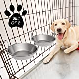 PETMAKER Stainless-Steel Hanging Pet Bowls for Dogs & Cats-Cage, Kennel, & Crate Large Feeder Dishes for Food & Water-Set of