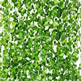 CQURE 24 Pack 168 Ft Ivy Garland,Fake Ivy Vine Foliage Silk Garland Hanging Greenery for Wedding Party Garden Wall Decoration