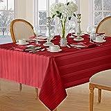Newbridge Christmas Satin Stripe No-Iron Soil Resistant Fabric Holiday Tablecloth - 52 X 52 Square, Red