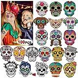 Day of the Dead Sugar Skull Tattoos(100Counts),Konsait Halloween Temporary Face Tattoos Sugar Skull Puppy Black Skeleton Web