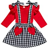Baby Girl Halloween Outfits Set Toddler Ruffles Shirt + Checked Pumpkin Suspenders Skirt 2pcs Holiday Clothes
