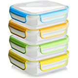 Snap Fresh - 4 Pack of Sandwich Containers (450 ml) - Reusable, BPA Free Plastic, Snap Close & Lock Shut Lids and Silicone Se