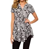 Unifizz Women's V Neck Button Tunic Peplum Tops Short Sleeve Swing Flowy Shirts