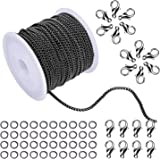 (Black) - WXJ13 2.0mm Wide Black Open Link Cable Chain Curb Chain Link in Bulk for Necklace Jewellery Accessories DIY Making,