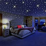 Glow in The Dark Stars for Ceiling or Wall Stickers - Glowing Wall Decals Stickers Room Decor Kit - Galaxy Glow Star Set and