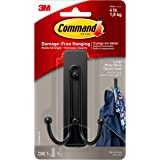 Command Matte Black Double Hook, Organize Damage-Free, Indoor Use (17036MB-ES)