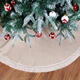 Burlap Christmas Tree Skirt with Tassel,Linen Christmas Tree Decorations Indoor Outdoor,48 inch Natural Rustic Tree Skirt for