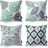 "Phantoscope New Living Series Decorative Throw Pillow Case Cushion Cover 18"" x 18"" 45cm x 45cm Set of 4 Cyan Blue"