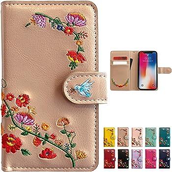 fc70062088 iPhone SE iPhone 5 5S 花刺繍 手帳型 ケース カバー 【アーモンドベージュ】 [
