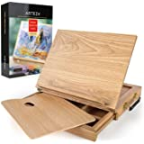 ARTEZA Wooden Desktop Easel with Drawer and Palette, Ideal for Portable Sketching, Drawing, and Painting with a Variety of Me