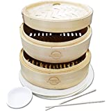 Mister Kitchenware 10 Inch Handmade Bamboo Steamer, 2 Tier Baskets, Healthy Cooking for Vegetables, Dim Sum Dumplings, Buns,