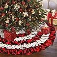 AerWo Christmas Tree Skirt 48 inches, Red Black Buffalo Check and Burlap Christmas Tree Skirt for Holiday Christmas Decoratio
