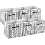 MaidMAX Cloth Storage Bins Cubes Baskets Containers with Wooden Handle for Home Closet Bedroom Drawers Organizers, Set of 6 G