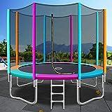 Trampoline for Kid 8ft 10ft 12ft Big Rebounder w/Ladder Enclosure Safety Net Pad Outdoor Bouncing Children Multi-Colored