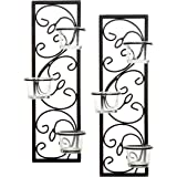 """Hosley Set of Two 13.75"""" High Black Iron Tealight Wall Sconce. Handmade by Artisans. Ideal Wedding, Party, LED Votive Candle"""