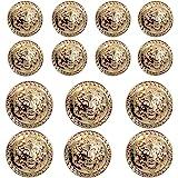 14 Pieces Gold Vintage Antique Metal Blazer Button Set - 3D Lion Head - for Blazer, Suits, Sport Coat, Uniform, Jacket 17mm 2