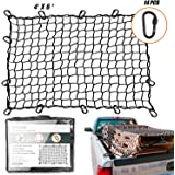 EZYKOO Truck Nets, 4' X 6' Heavy Duty Truck Bed Net, Cargo Net,Max Stretches to 8' X 11 14 pcs Upgrade Durable Carabiners Hoo