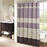 Madison Park Serene Shower Curtain Faux Silk Embroidered Floral Machine Washable Modern Home Bathroom Decorations, 72x72, Pur