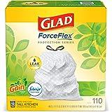 Glad ForceFlex Tall Kitchen Drawstring Trash Bags 13 Gallon White Trash Bag, Gain Original scent with Febreze Freshness 110 C