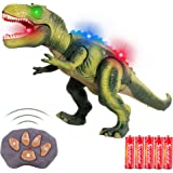 FiGoal Remote Control Dinosaur with LED Lights, Walking, and Roaring Sound, RC Tyrannosaurus T-Rex Dinosaur Toy with LED Ligh