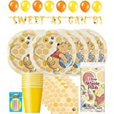 Hello Party! Winnie The Pooh winnie the pooh party supplies Complete for 16 Kids, Big Plates, Napkins, Tablecover, Cups, Hang