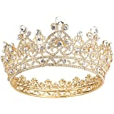 Makone Crowns for Women Gold Crystal Queen Crowns and Tiaras Girls Hair Accessories for Wedding Prom Bridal Party Halloween C