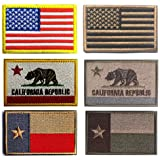 American US Tactical Patch, Antrix 6 Pack USA Flag California Flag Texas Flag Fully Embroidered Patches Tactical Morale Tags