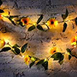 2 Pieces Artificial Sunflower String Lights 60 LED 14.4 ft Sunflower Home Decoration Sunflower Battery Operated String Fairy
