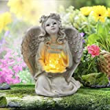 Guardian Angel Garden Statue, Solar Lights Angel Decorations for Home, Resin Garden Decor for Outside & Memorial Gifts (9.375