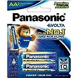 Panasonic AA Evolta Alkaline Batteries, 2-Pack (LR6EG/2B)