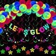 70 Pieces Let's Glow Neon Party Supplies, Let's Glow Banner, Black Light Circle Dots and Star Garlands, Reactive UV Neon Hang